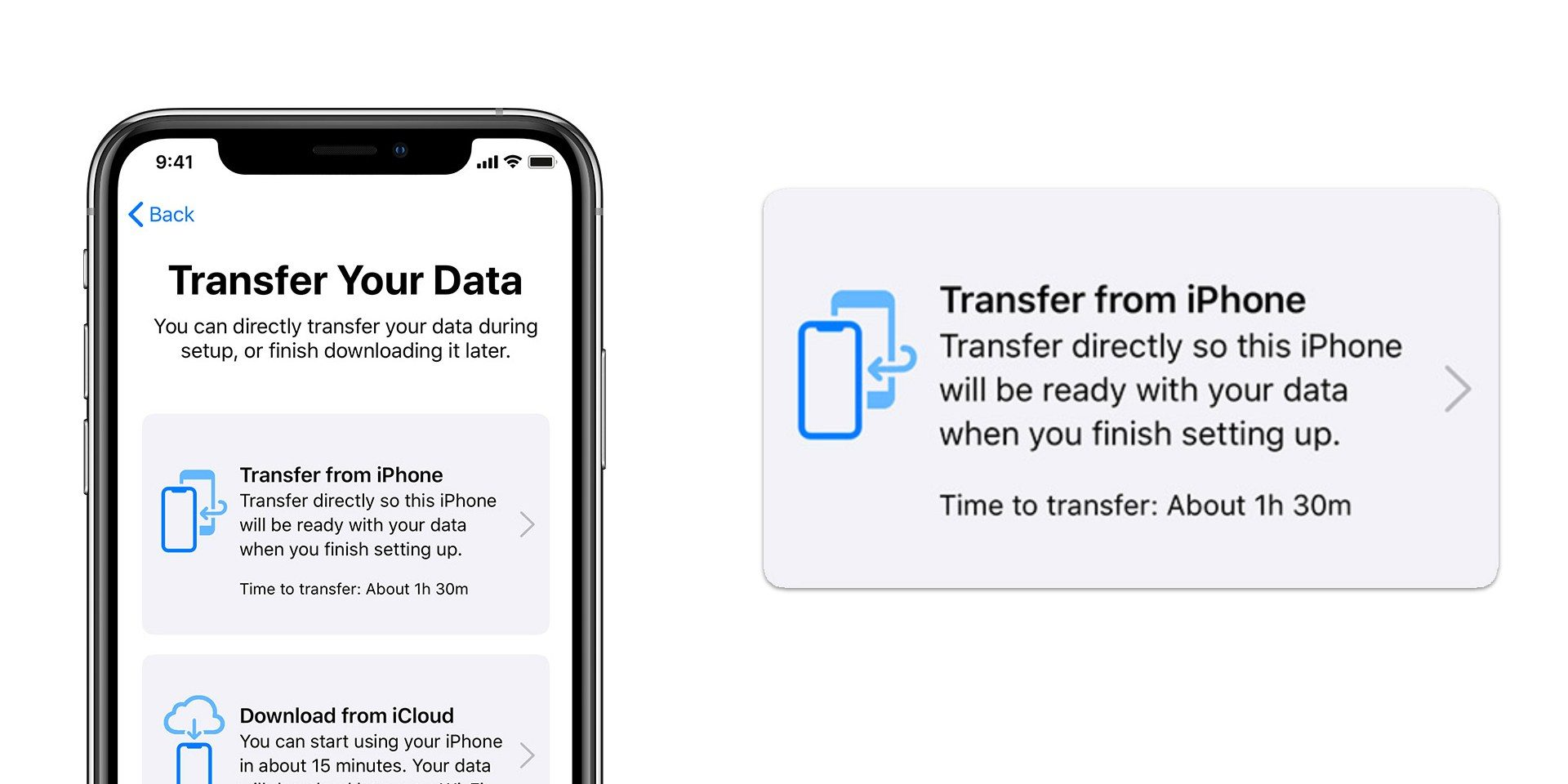 You can now transfer data to a new iPhone wirelessly, or with a cable